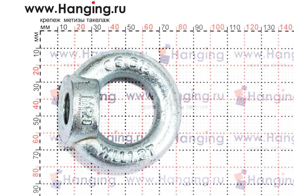 Размеры кольца-проушины и рым-гайки М20