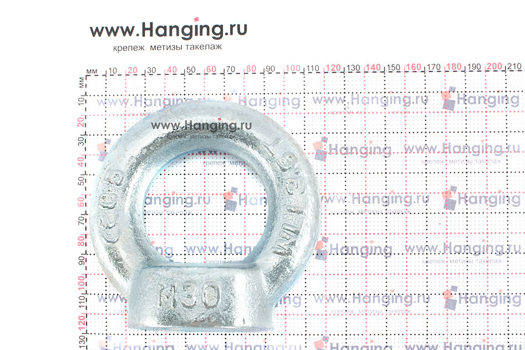 Размеры кольца-проушины и рым-гайки М30