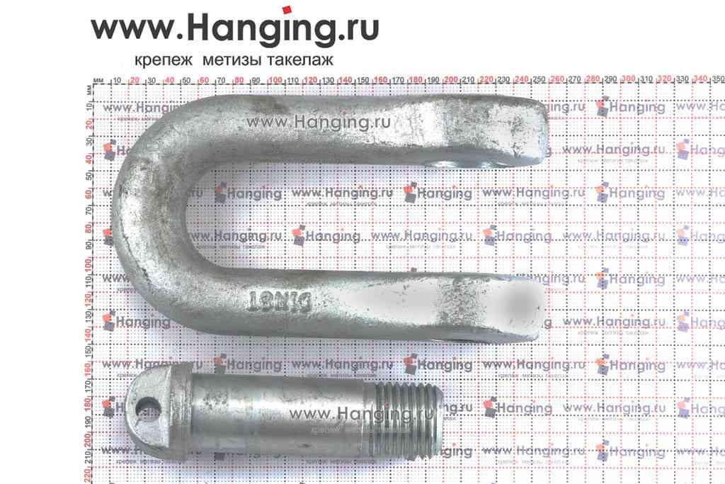 Размеры пальца диаметром 45 мм и скобы прямого типа