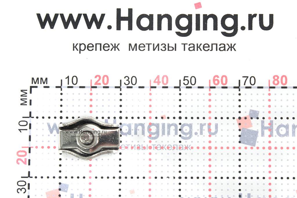 Размеры зажима для троса Simplex 3 мм из нержавеющей стали А4