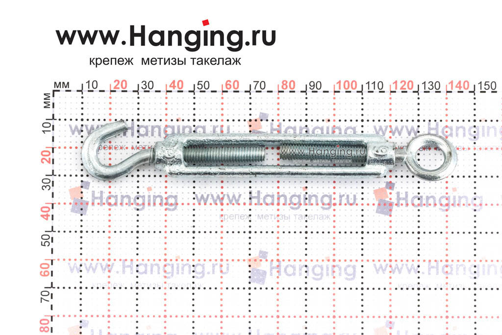Размеры талрепа М6 кольцо-крюк, крюк-петля