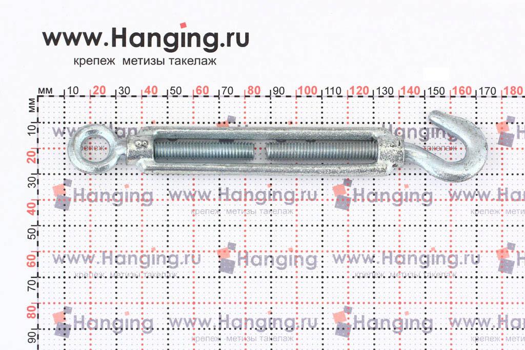 Размеры талрепа М8 кольцо-крюк, крюк-петля