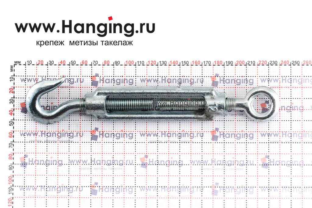 Размеры талрепа М12 кольцо-крюк, крюк-петля