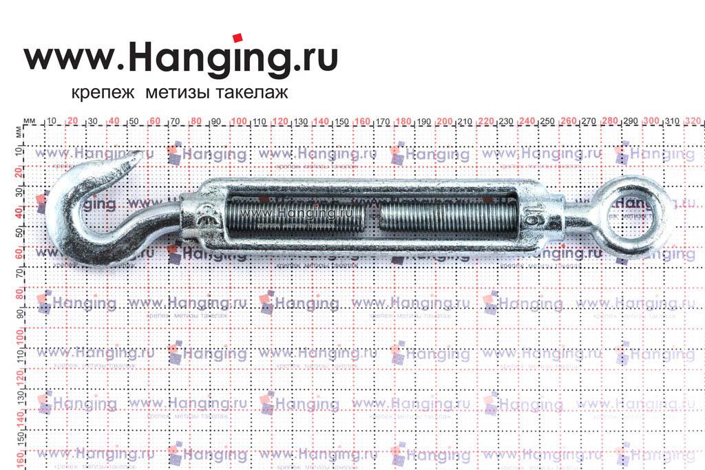 Размеры талрепа М16 кольцо-крюк, крюк-петля