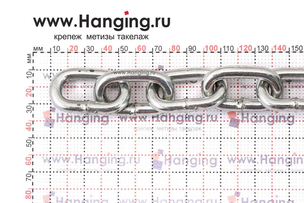 Размеры цепи с короткими звеньями диаметром 5 мм