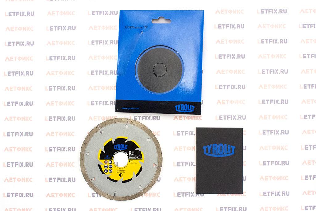 Содержимое упаковки алмазного диска для бетона, кирпича и камня TYROLIT Basic DCU 125х2х22