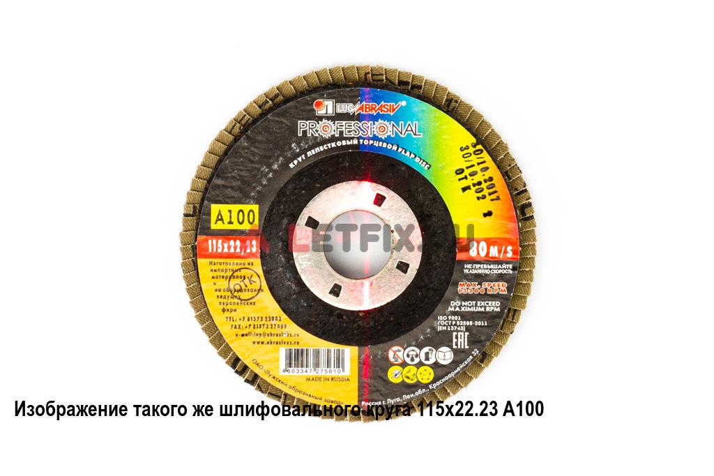 Лепестковый плоский шлифовальный круг 115х22,23 A120 Луга для углеродистой стали, цветных металлов, дерева и пластмассы