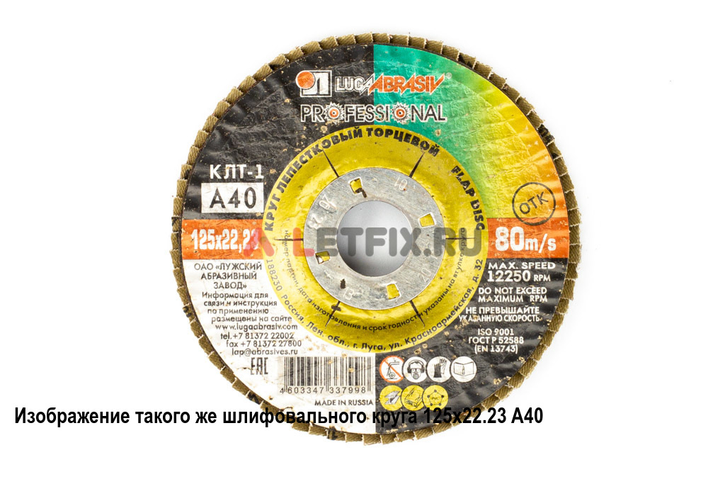 Лепестковый плоский шлифовальный круг 125х22,23 A60 Луга для углеродистой стали, цветных металлов, дерева и пластмассы