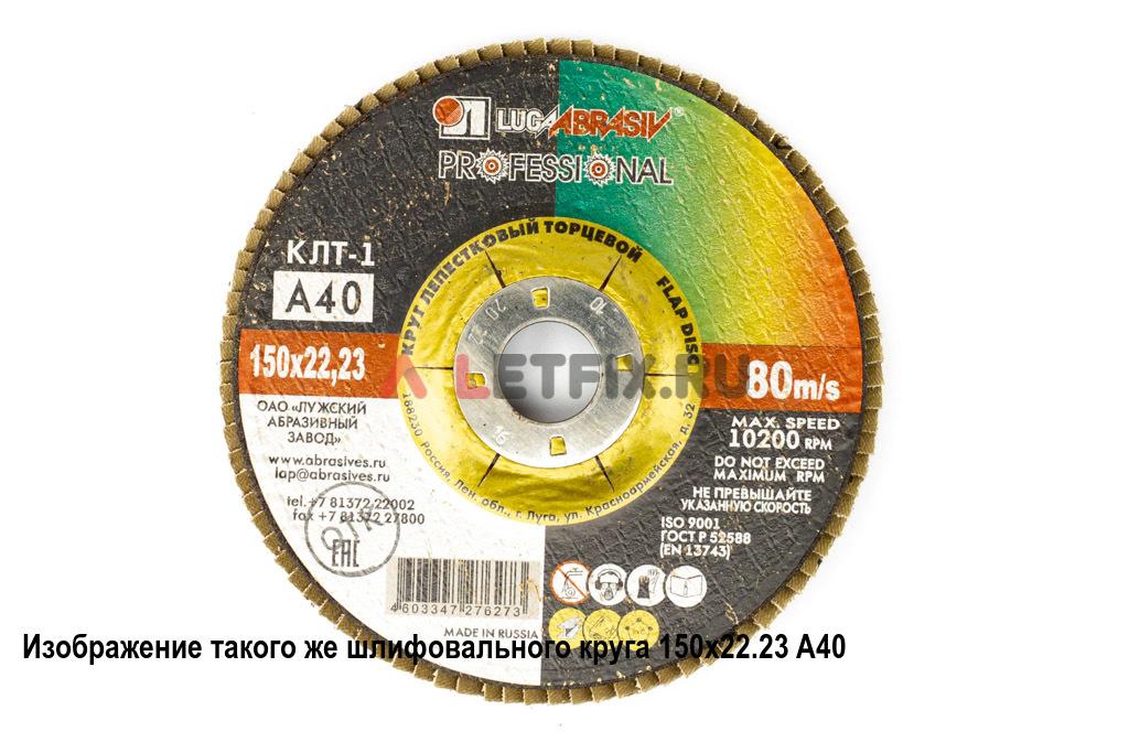 Лепестковый плоский шлифовальный круг 150х22,23 A60 Луга для углеродистой стали, цветных металлов, дерева и пластмассы