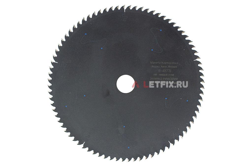 Пильный диск Макита MAKBLADE PLUS B-43773 диаметром 260 мм (80 зубьев)