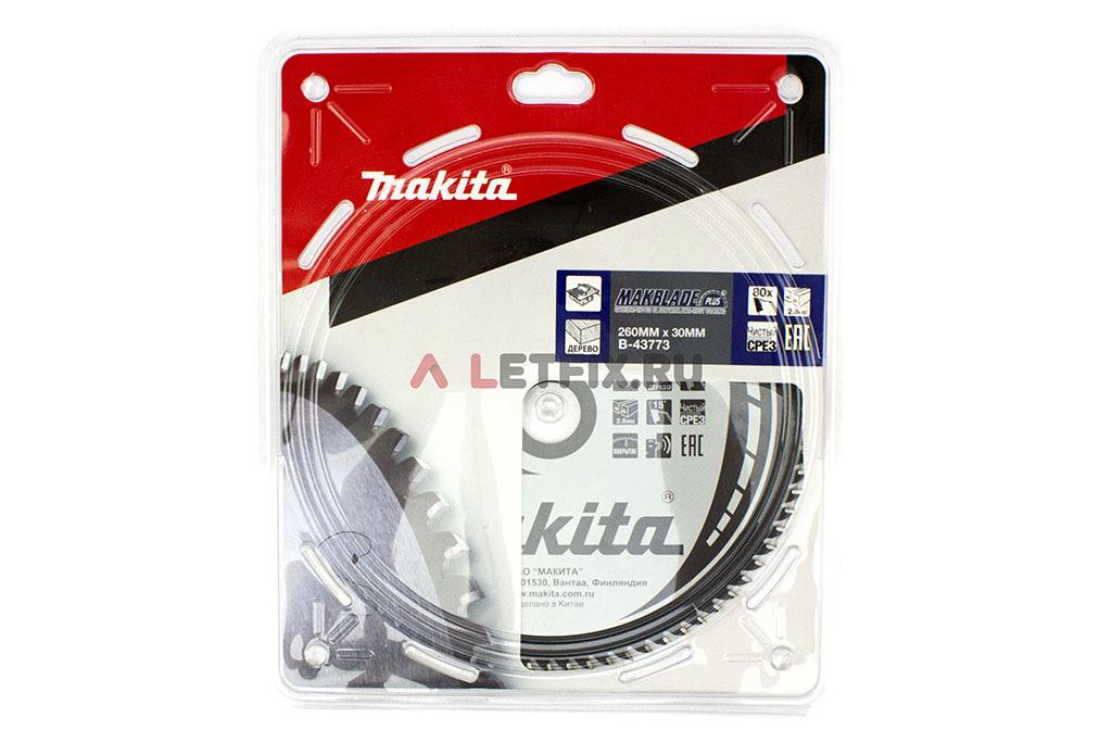 Упаковка пильного диска по дереву для циркулярной пилы Makita B-43773 MAKBLADE PLUS 260х30х1.8/80