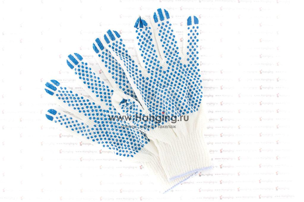 Недорогие хлопчатобумажные перчатки с ПВХ (3 нити)