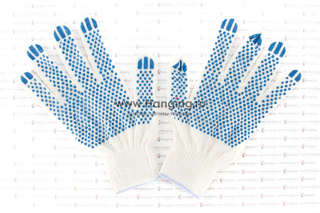 Х/б перчатки (3 нити) с точками ПВХ