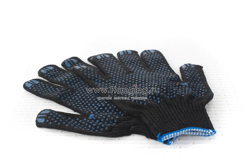 Черные х/б перчатки с ПВХ
