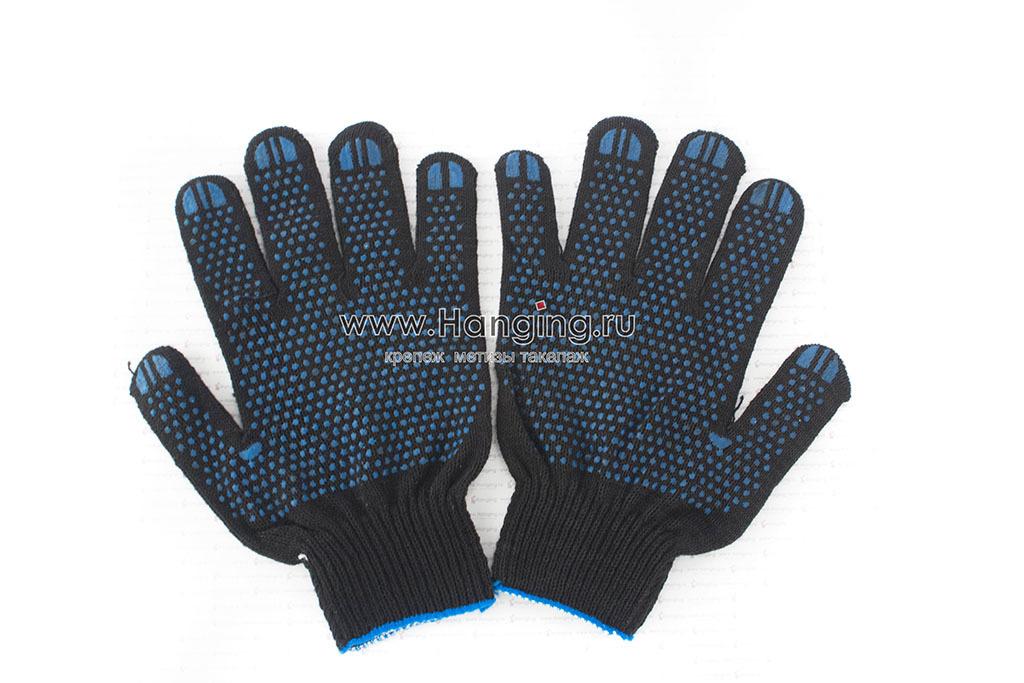 Перчатки хлопчатобумажные черного цвета (4 нити) с ПВХ