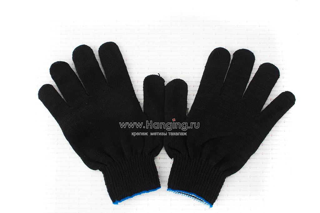 Чёрные перчатки х/б (4 нити, 10 класс) с ПВХ