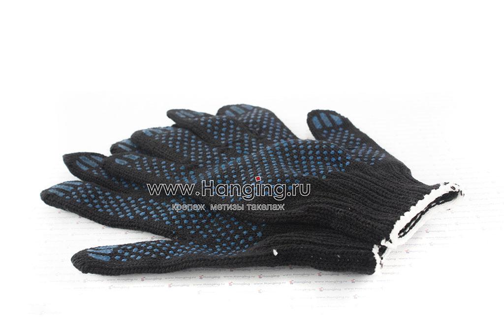 Черные полушерстяные строительные перчатки с ПВХ