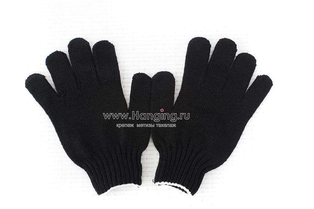 Чёрные перчатки п/ш (4 нити, 10 класс) с ПВХ