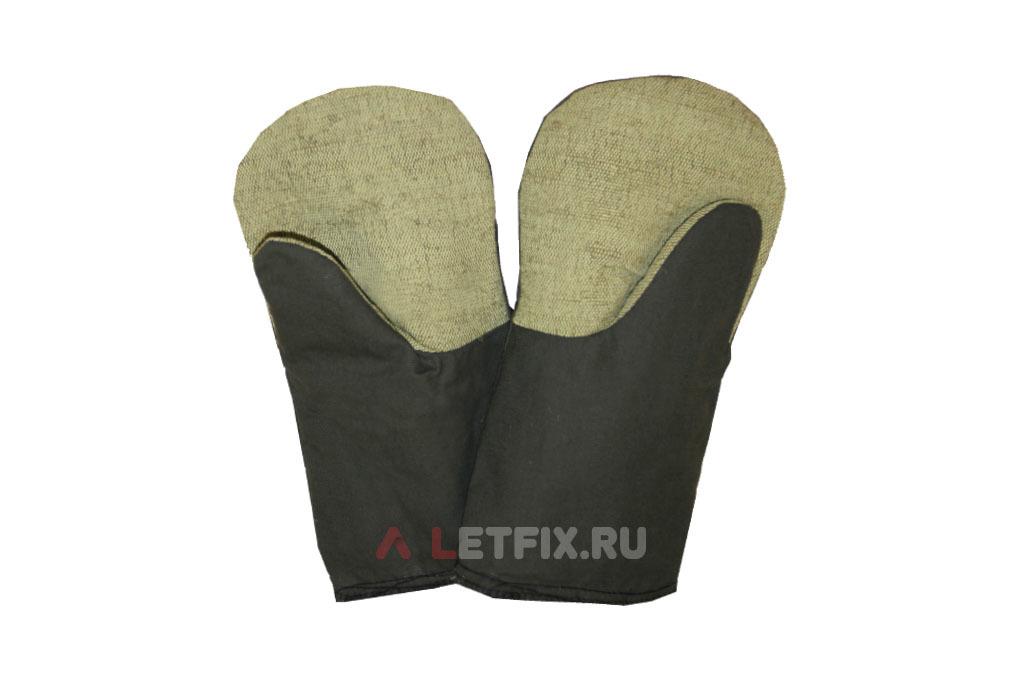 Утепленные х/б рукавицы с брезентом