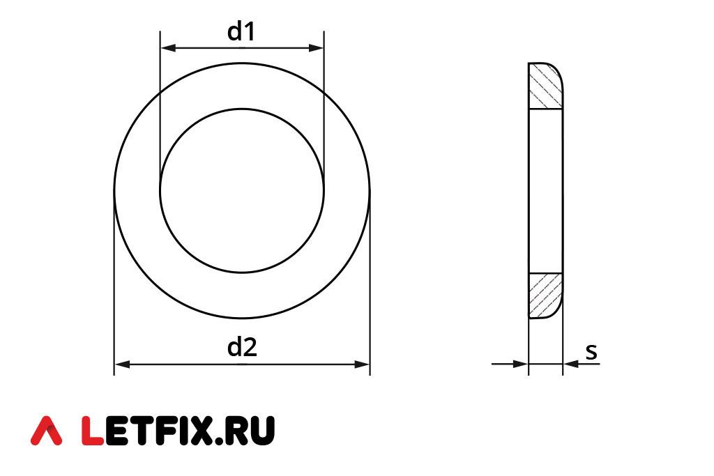 Схема размеров плоской шайбы DIN 125
