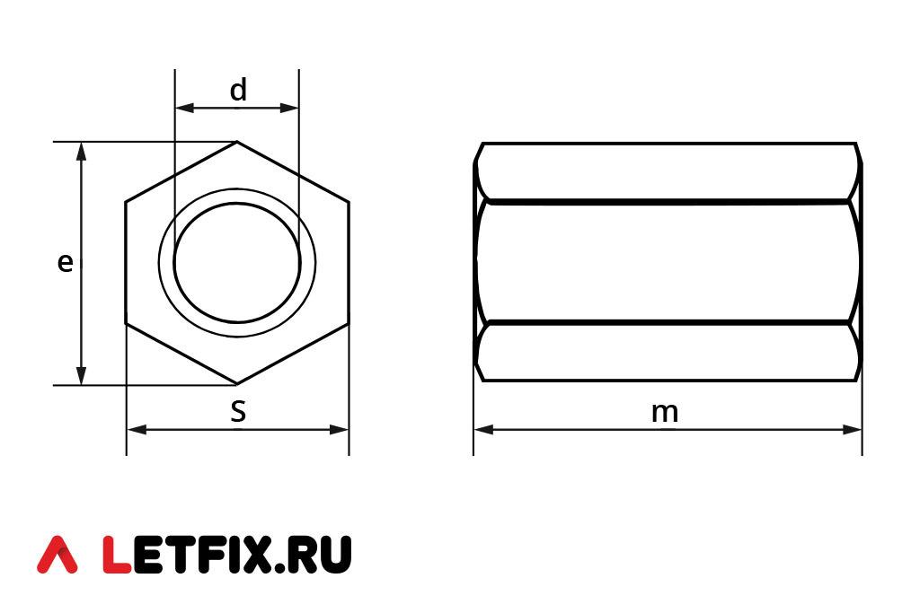 Схема размеров гайки DIN 6334