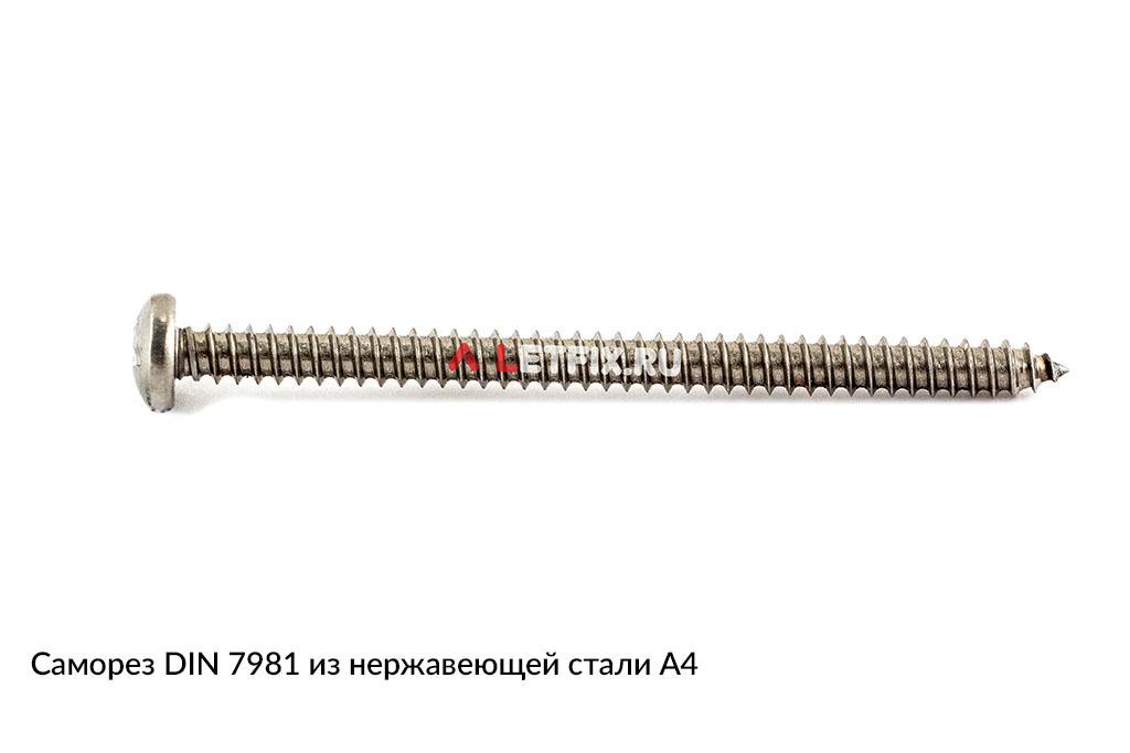 Самонарезающий винт (шуруп, саморез) DIN 7981 из нержавеющей стали А4
