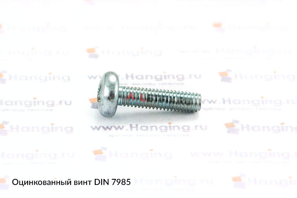 Оцинкованный винт с полукруглой головкой DIN 7985