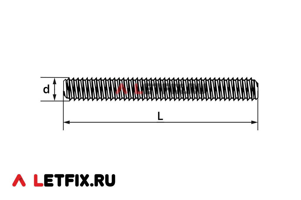 Схема размеров шпильки DIN 976