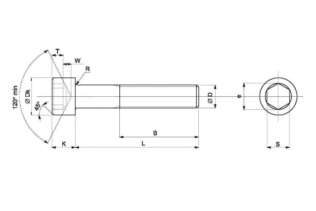 Чертеж болта с внутренним шестигранником по стандарту DIN 912, ГОСТ 11738-84, ISO 4762 и ISO 21269