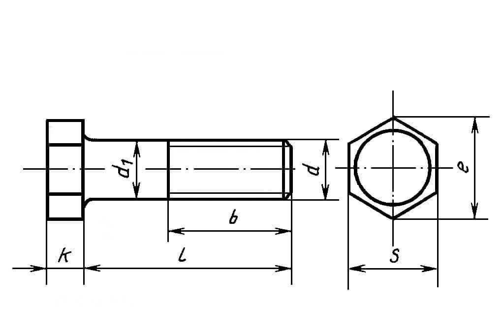 Схема шестигранного болта с неполной резьбой из нержавеющей стали А2 DIN 931