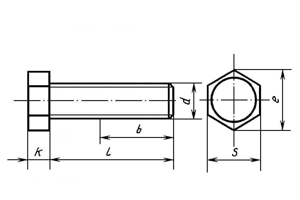 Чертеж болта с шестигранной головкой DIN 933 из нержавеющей стали А4