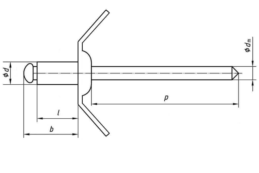 Технические обозначения клеммных заклепок 4,0х7,0 с двумя контактами под углом в 45 градусов Bralo (Брало, Испания)