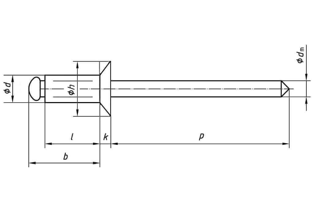 Заклепка вытяжная многозажимная с потайным бортиком комбинированная (алюминий - сталь)