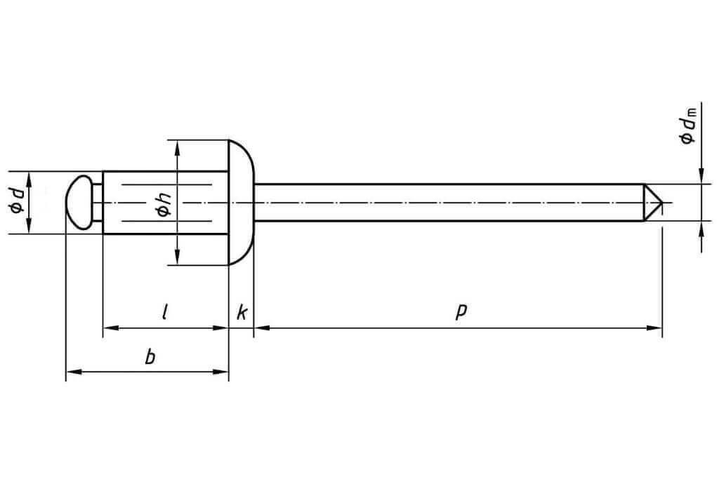 Заклепка вытяжная многозажимная со стандартным бортиком комбинированная (алюминий - сталь)