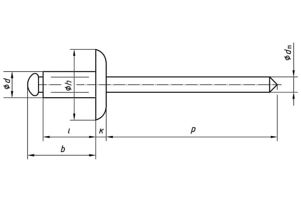 Заклепка вытяжная многозажимная с увеличенным бортиком комбинированная (алюминий - сталь)