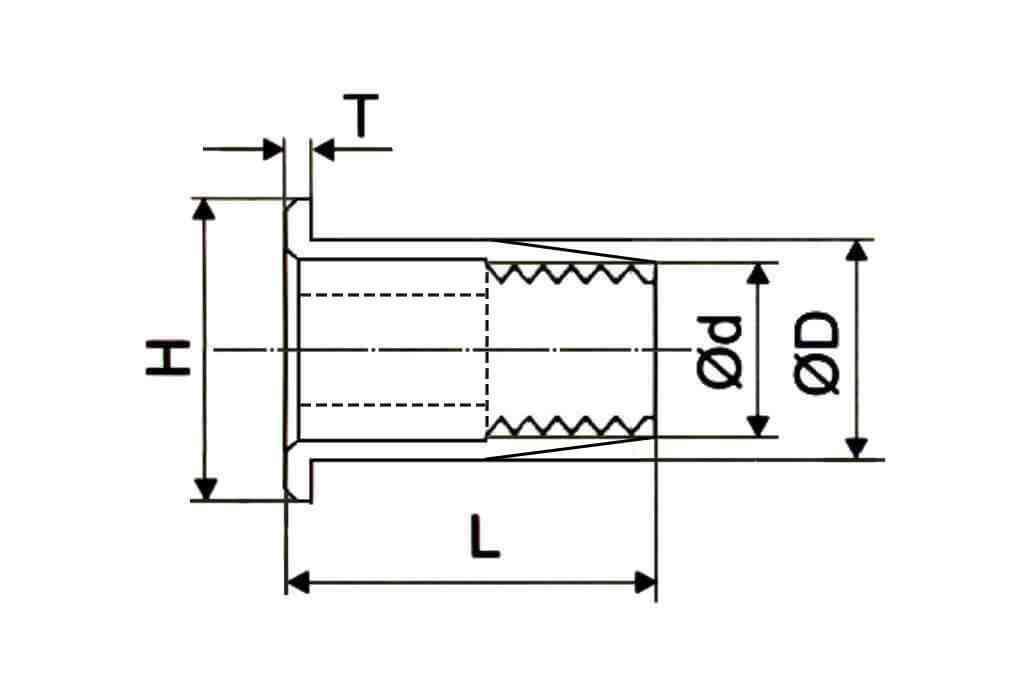 Чертеж заклепки резьбовой полушестигранной со стандартным цилиндрическим выпускным бортиком из стали