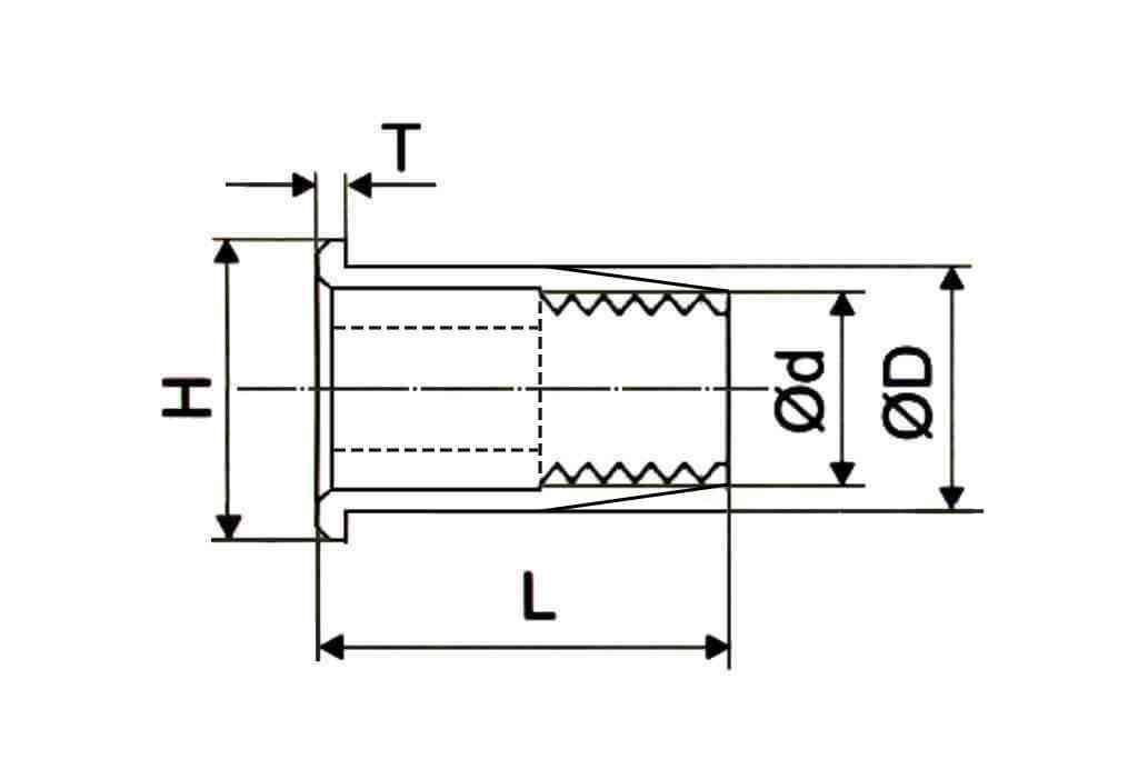 Чертеж резьбовой глухой заклепки с уменьшенным выпускным фланцем полушестигранной формы Bralo (Брало, Испания)
