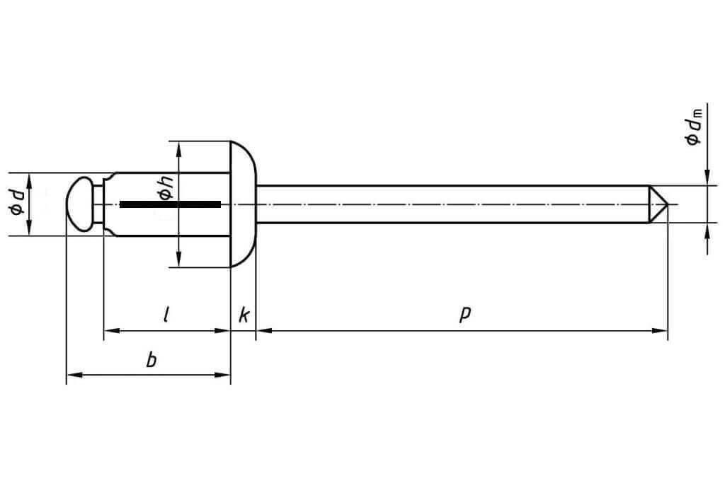 Технические обозначения распорной заклепки 4,8х28 со стандартным бортиком алюминий/алюминий