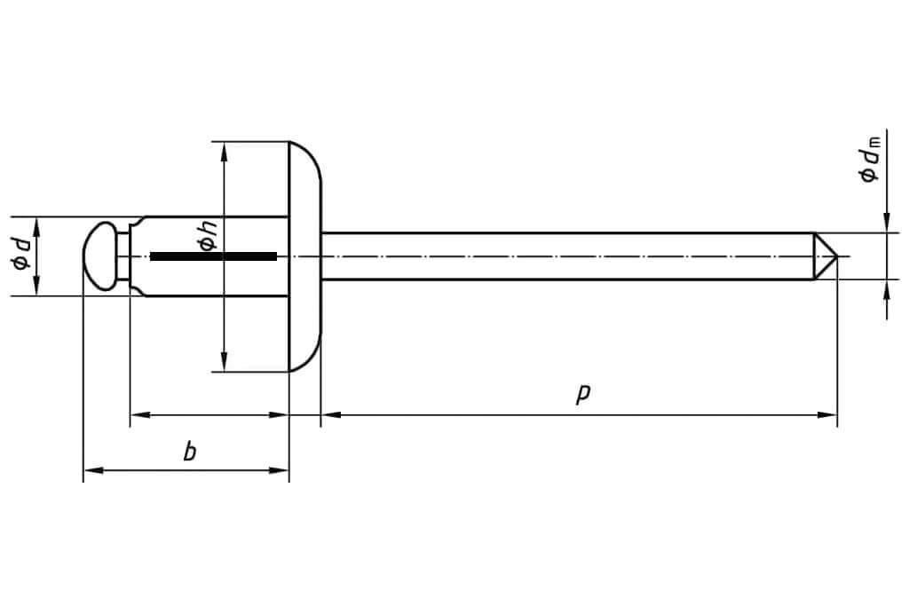Технические обозначения распорной заклепки 4,8х20,5 с увеличенным бортиком алюминий/алюминий
