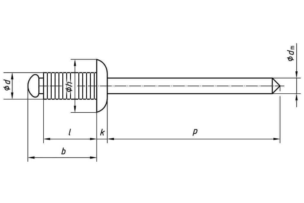 Технические обозначения рифленой заклепки 4х12 со стандартным бортиком алюминий/сталь