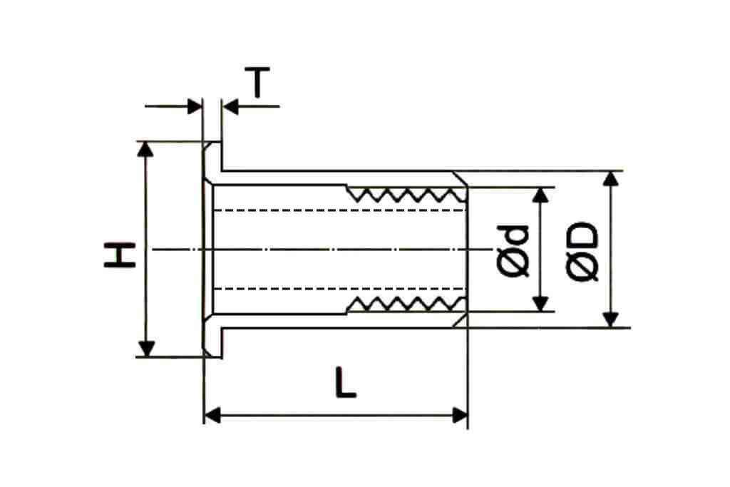 Чертеж резьбовой заклепки шестигранной формы со стандартным выпускным фланцем Bralo (Брало, Испания)