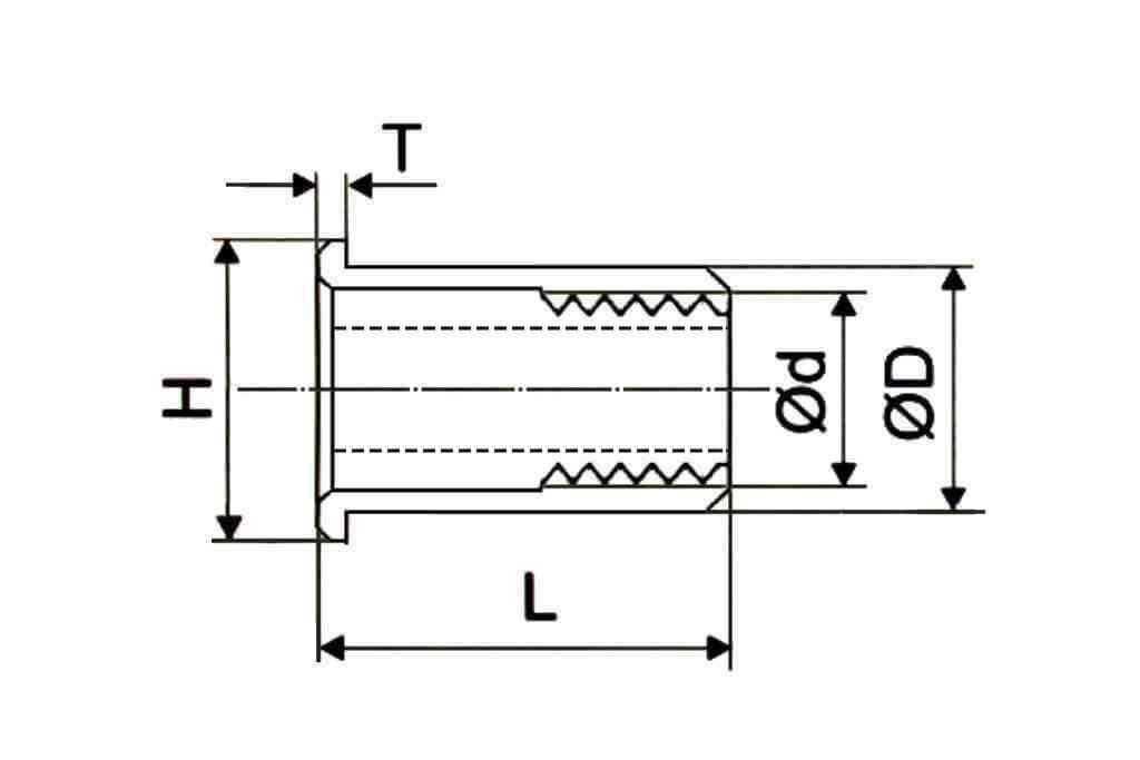 Чертеж резьбовой заклепки полушестигранной формы с уменьшенным выпускным фланцем