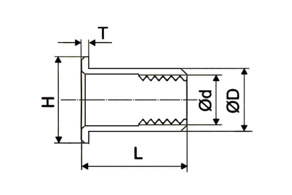 Чертеж резьбовой заклепки цилиндрической формы с насечками со стандартным фланцем