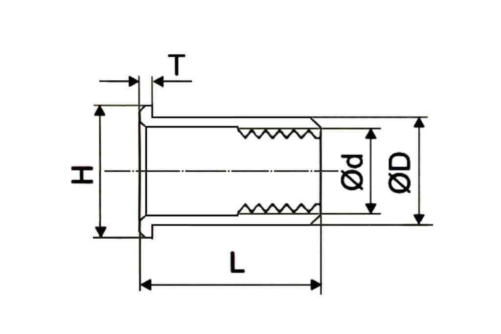 Чертеж резьбовой заклепки цилиндрической формы с насечками с уменьшенным фланцем