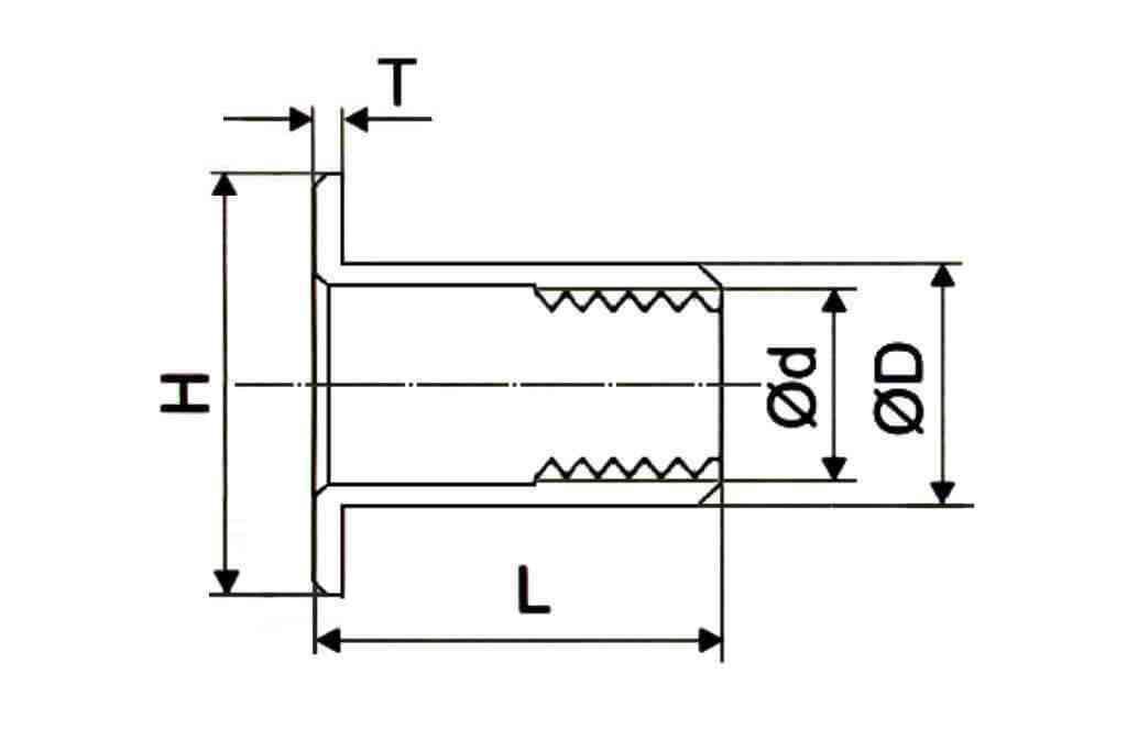 Чертеж цилиндрической заклепки с рифлением и увеличенным бортиком из стали Bralo (Брало, Испания)