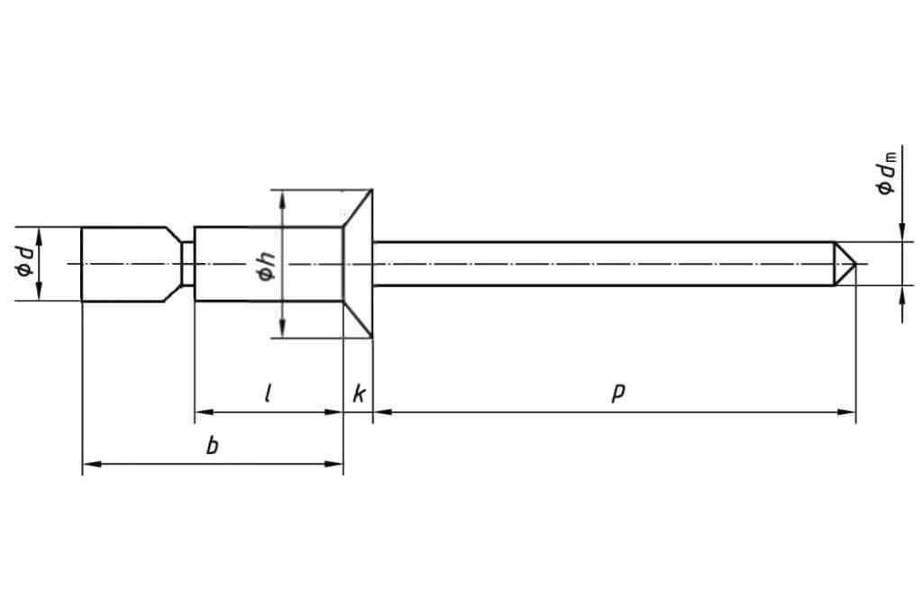 Технические обозначения усиленной стальной заклепки 6,5х22,5 с потайным бортиком Bralo (Брало, Испания)