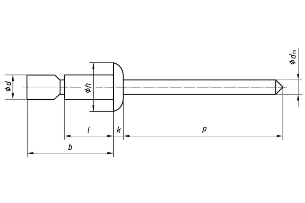 Технические обозначения усиленной заклепки 6,4х23,7 со стандартным бортиком сталь/сталь