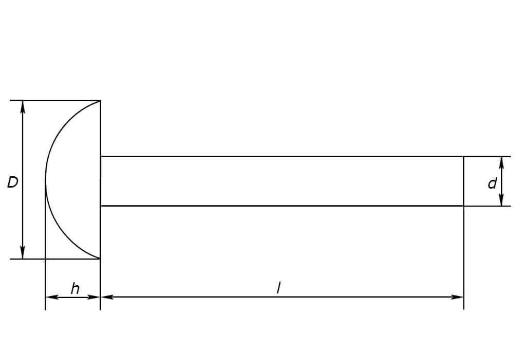 Чертеж забивной заклепки с полукруглой головкой из нержавеющей стали А2