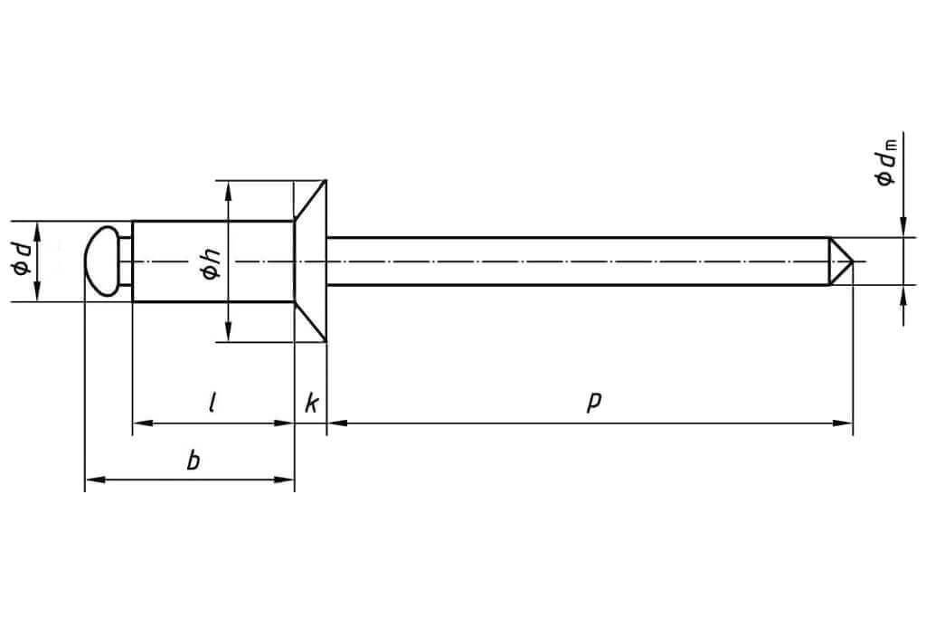 Технические обозначения заклепки 3х8 с потайным бортиком Cu/St DIN 7337 Form B