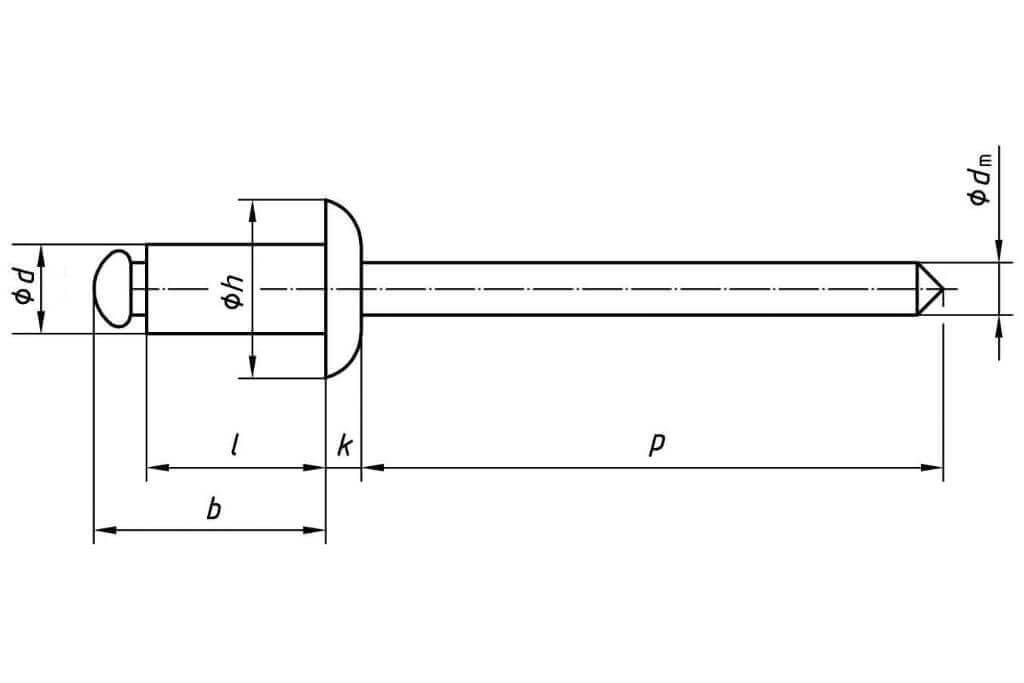 Технические обозначения лепестковой заклепки 4,8х14 с выпускным бортиком Al/St Bralo (Брало, Испания)